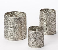 Roman 3 Piece Set of Unique Metal Candle Holders 5.5'