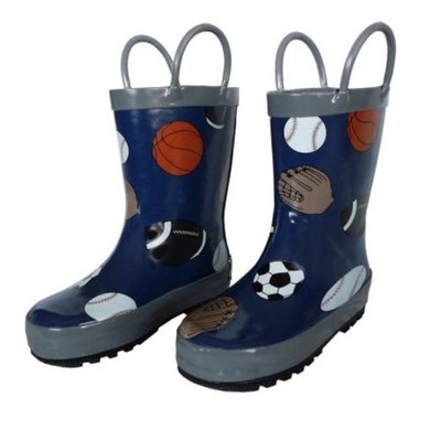 Navy Sports Balls Toddler Boys Rain Boots 5-10