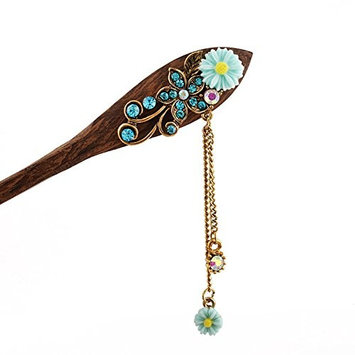 rainbow25 Women Vintage Wooden Hair Pin Stick Flower Rhinestone Bridal Hair Accessory size 16cm/6.30