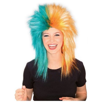 Sports Fanatix Wig Adult Costume Accessory Teal & Orange Sports Fanatic Wig Miami Dolphins