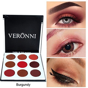 9 Colors Burgundy Pigment Eyeshadow Palette by VERONNI, Shimmer Matte Eye Shadow Palette Cosmetic Makeup (Burgundy)