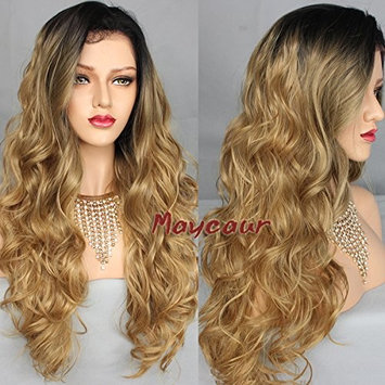 Maycaur Synthetic Lace Front Wigs Body Wave 10% Human Hair+90% Heat Resistant Fiber Wig Black Blonde Ombre Color Hair For Women 26 Inch