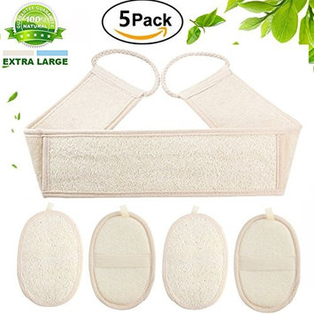 5 Pack Exfoliating Loofah Sponge Pads,100% natural loofah and terry cloth material which is non-toxic, skin-friendly, hypoallergenic and antibacterial, Perfect for Bath Shower and Spa