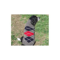 Chilly Dog Grey Classic Argyle Dog Sweater, X-Small