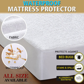 Waterproof Mattress Protector Hypoallergenic Breathable Cotton Terry Bed Cover All Size