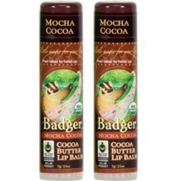 Badger Mocha Cocoa Organic Cocoa Butter Lip Balm (Pack of 2) with Olive Fruit Oil, Cocoa Seed Butter, Beeswax, Castor Seed Oil, Coffee Extract, Rosehip, Rosemary and Seabuckthorn, 0.25 oz