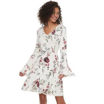 Juniors' American Rag Floral Bell Sleeve Swing Dress