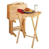 Essential Home 5 Piece TV Tray Snack Dinner Folding Table Set