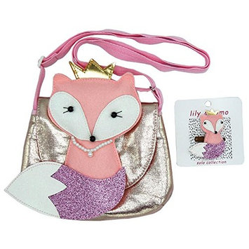 Friendly Fox Bag and Hair Clip Gift Set - Girls, Toddlers Accessories - Pink and Glitter - Bag with Adjustable Strap and Magnetic Closure and Hair Clip with Alligator Non Slip Clip