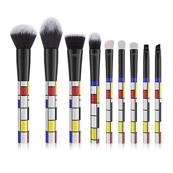 DUcare Makeup Brush Set 9 Pcs Red Blue and Yellow Professional Essential Face Powder Eye Shadow Eyeliner Foundation Blush Lip Powder Liquid Cream Blending Brushes
