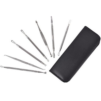 7PCS Blackhead Remover Kit Pimple Comedone Extractor Tool Acne Removal Kit - Treatment for Blemish, Zit Removing With Leather Travel Case
