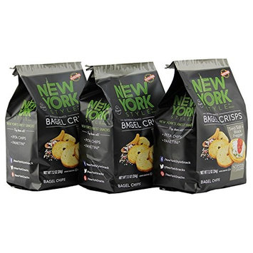 York Style Bagel Crisps SEA SALT & CRACKED PEPPER, 7.2 Ounce - (Pack of 3) Add Some Extra Crunch