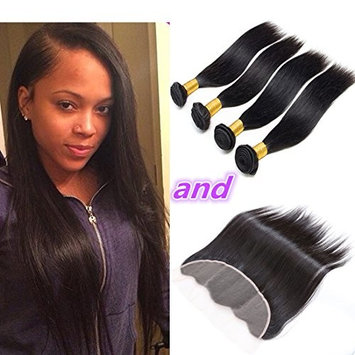 CCOLLEGE 8A Brazilian Virgin Human Hair 4 Bundles With (13 x 4) Lace Frontal Straight Wave Weft 100% Real Human Hair Extensions Natural Color