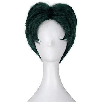 Men Short Fluffy Wavy Dark Green Color Halloween Cosplay Costume Wig Kids