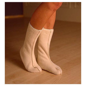 Adult Bed Socks in Organic Merino Wool, Natural White, size XL (pair)