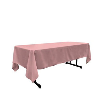 LA Linen TCpop60x102-RoseP79 Polyester Poplin Rectangular Tablecloth Dusty Rose - 60 x 102 in.