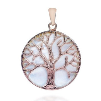 Aeravida Handmade Tree of life MOP Pink Rose Gold Over .925 Silver Pendant (Thailand)