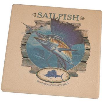 Old Glory Sailfish Deep Sea Fishing Square Sandstone Coaster