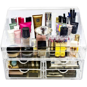 Ggi International Sorbus Acrylic Cosmetics Makeup Organizer Storage Case Display with Slanted Front Lid, Style 2, Slanted Lid Sectional Top with 4 Drawers