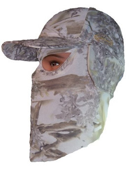Quikcamo King's Snow Shadow Camouflage Cap, Hunting Hat with Front Model Face Mask Technology (58cm Fitted)