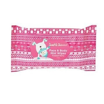 Sweet & Shimmer Face & Body Mini Wipes, Frosted Berry, 15ct