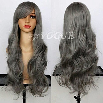 Exvogue Grey Silver Hair Wig with Side Swept Bangs Long Body Wave Capless Synthetic Gray Wigs for African American Women