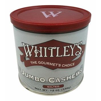 Whitley's Jumbo Cashews Salted 12 Oz.