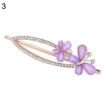 Braceus Women Hairpin Butterfly Bowknot Hair Clip Rhinestone Bridal Headwear