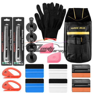 Professional Vinyl Wrap Window Tint Film Application Tool Kit Scratch Free Felt Squeegees Lil Chizlers Gloves Tool Bag Snitty Cutter 30 Degree Razor Magnets TK09