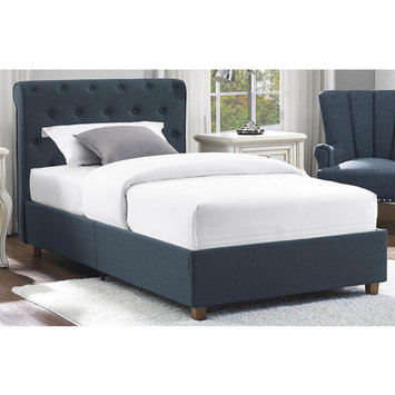 Dorel Carmela Navy Twin Linen Upholstered Bed