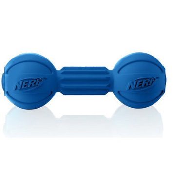 Little Gifts, Inc. Nerf Dog Rubber Barbell Dog Chew Toy Blue