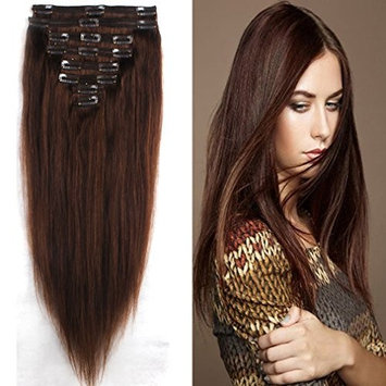 100% Real Remy Clip in Hair Extensions 14-22inch Grade 7A Natural Hair Full Head Double Weft 8 Pieces 18 Clips Long Smooth Soft Silky Straight for Women Fashion(20 Inch 150g,#4 Medium Brown)