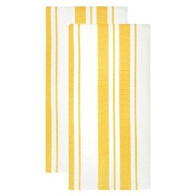Cotton Basketweave Stripe Dish Towel (Set Of 2)