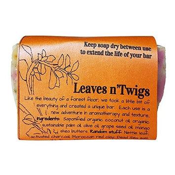 Waterfall Glen Soap Company Leaves n'Twigs - tea tree & tangerine, random pattern, bath soap with shea butter 5.8oz.