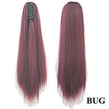 24 inch Girls Long Straight Claw Clip on Ponytail Pony Tail Masquerade Party Ladies Natural Color Heat Resistant Synthetic Hair Extensions