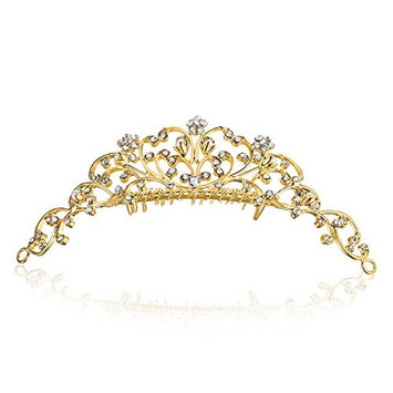 Vine Flower Design Crystal Tiara Comb - Gold Plating Faux Pearl T796