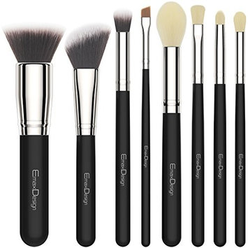 EmaxDesign 8 Pieces Makeup Brush Set Face Eye Shadow Eyeliner Foundation Blush Lip Makeup Brushes Powder Liquid Cream Cosmetics Blending Brush Tools (Silver Black)