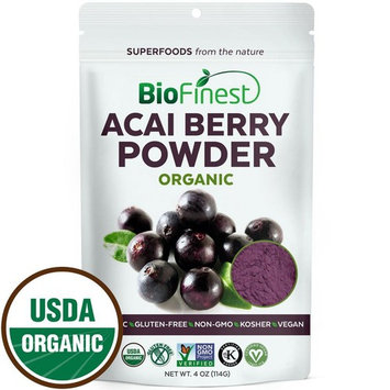 Biofinest Acai Berry Juice Powder - 100% Pure Freeze-Dried Antioxidant Superfood - USDA Organic Vegan Raw Non-GMO - Cleanse Digestion Weight Loss - for Smoothie Beverage Blend (4 oz Resealable Bag)