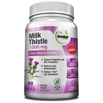 Milk Thistle Extract Liver Cleanser – 60 Veggie / Gluten Free Capsules / 80% Sylimarin – High Concentration – Energy Boosting Liver Detoxifier and Weight Loss Aid