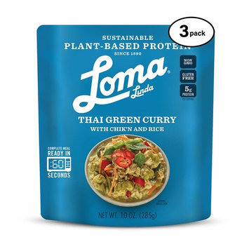 Loma Linda Blue - Plant-Based Complete Meal Solution - Heat & Eat Thai Green Curry (10 oz.) (Pack of 3) - Non-GMO, Gluten Free