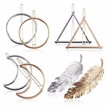 Beauty7 4 Pairs Women Girl Minimalist Hair Barrettes Snap On Clips Pins Bobby Ponytail Hair Styling Accessories Moon Triangle Circle Feathers (Silver & G