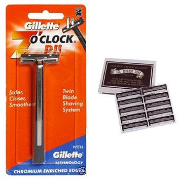 7 O'Clock PII Trac II Razor + Colonel Ichabod Conk Trac II Blade Cartridges 10 ct. + FREE LA Cross 71817 Tweezer