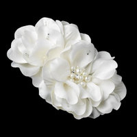 Sweet Ivory Simulated Pearl & Rhinestone Accent Bridal Flower Hair Clip