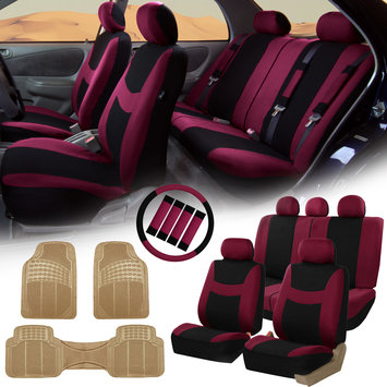Burgundy Black Car Seat Covers for Auto w/Steering Cover/Belt Pads/Floor Mat
