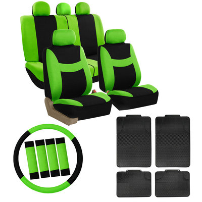 Car Seat Cover for Auto Set Green w/Steering Wheel/Belt Pad/Head Rest/Floor Mat
