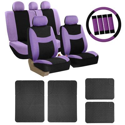 Car Seat Cover for Auto Set Purple w/Steering Wheel/Belt Pad/Head Rest/Floor Mat