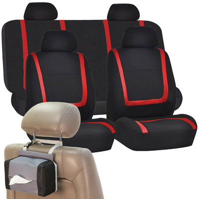 Car Seat Covers Red Black Set for Auto w/Head Rests, Tissue Dispenser