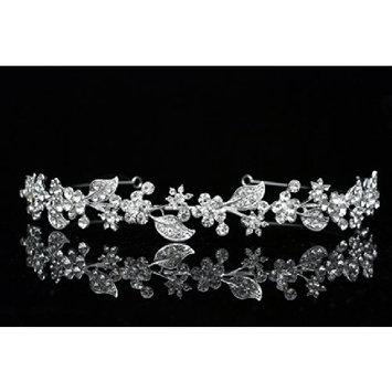 Flower Leaf Bridal Headband Tiara - Clear Crystals Silver Plating T615