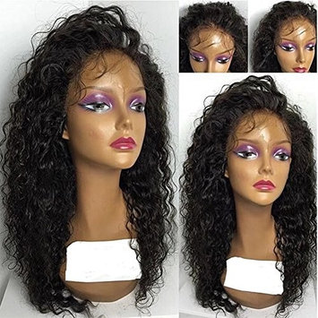 Brazilian Curly Full Lace Wig 100% Human Hair with Baby Hair Unprocessed Human Hair Loose Curly Wigs Pre Plucked and Bleached Knots Natural Color 14Inch 130 Density