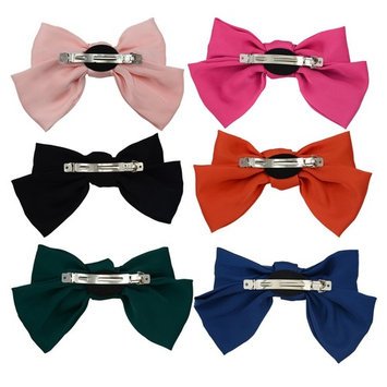 6-Pack Fashion Double-Deck Chiffon Large Solid Color Bowknot Hair Clip Women Girls Hair Bow Clip Accessories